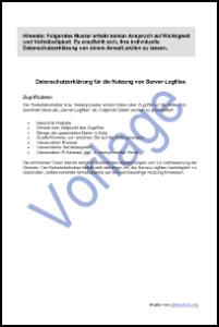 datenschutzerklrung fr logfiles vorlage zum download - Muster Datenschutzerklarung