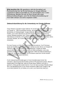 Google-AdSense-Nutzung: Datenschutzerklärung als Muster
