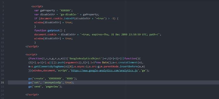 Google-Analytics-Code mit Anonymisierung.