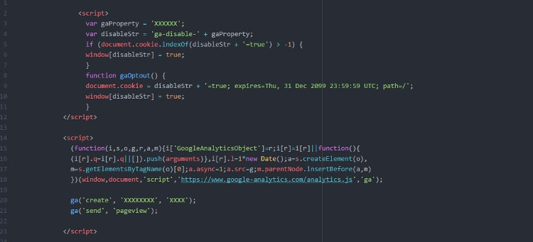 Google-Analytics-Code ohne Anonymisierung