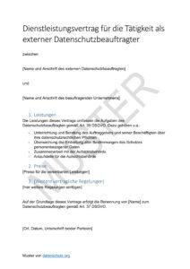Externer Datenschutzbeauftragter Vertrag Datenschutz 2019